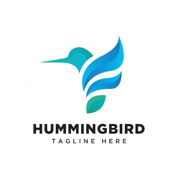 Gradient hummingbird logo Premium Vector