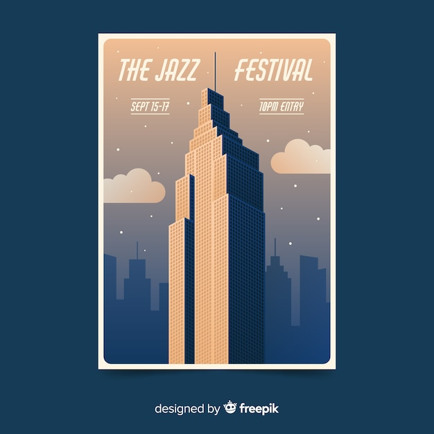 Gradient illustration music festival poster Free Vector