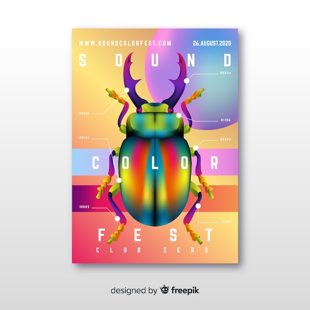 Gradient illustration music festival poster Free Vector