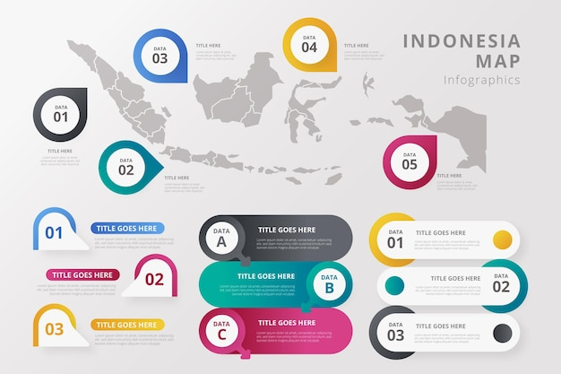Gradient indonesia map infographics template Free Vector