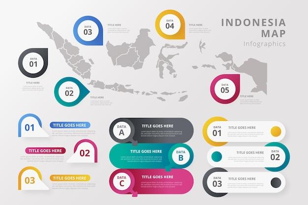 Градиентная карта инфографики шаблон индонезии Бесплатные векторы