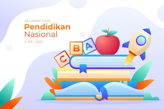 Gradient indonesian national education day illustration Free Vector