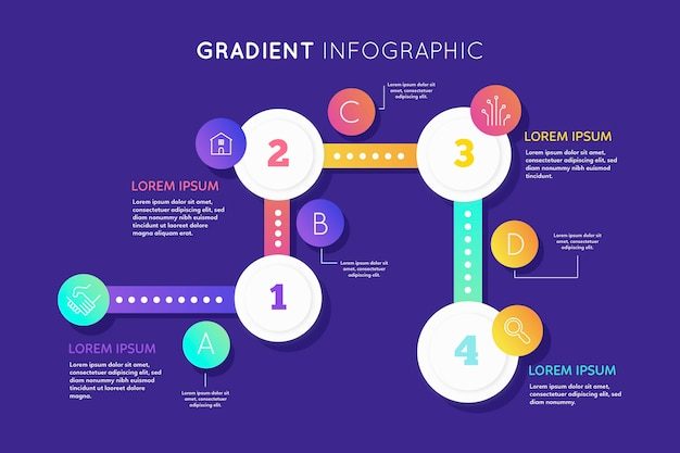 Gradient infographic collection template Free Vector