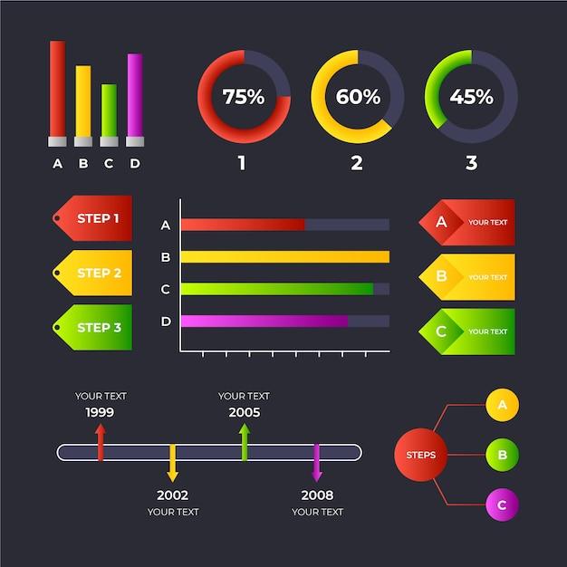 그라디언트 infographic 컬렉션 무료 벡터
