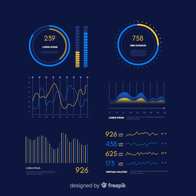 Gradient infographic dashboard evolution template Free Vector