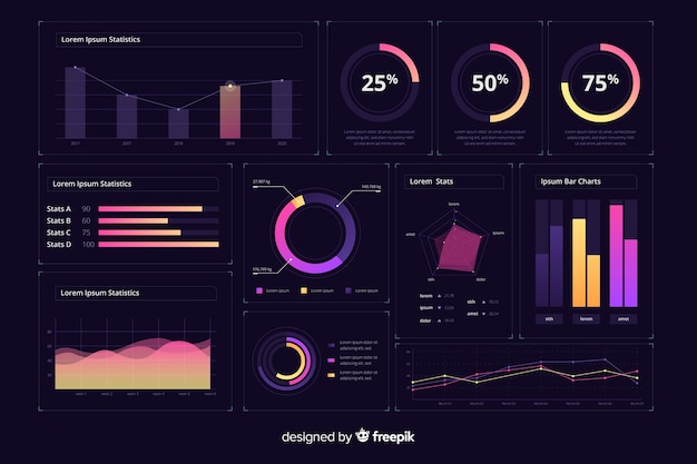 Gradient infographic dashboard interface template Free Vector