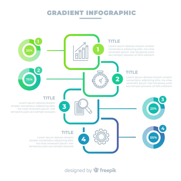 Gradient infographic design template Free Vector