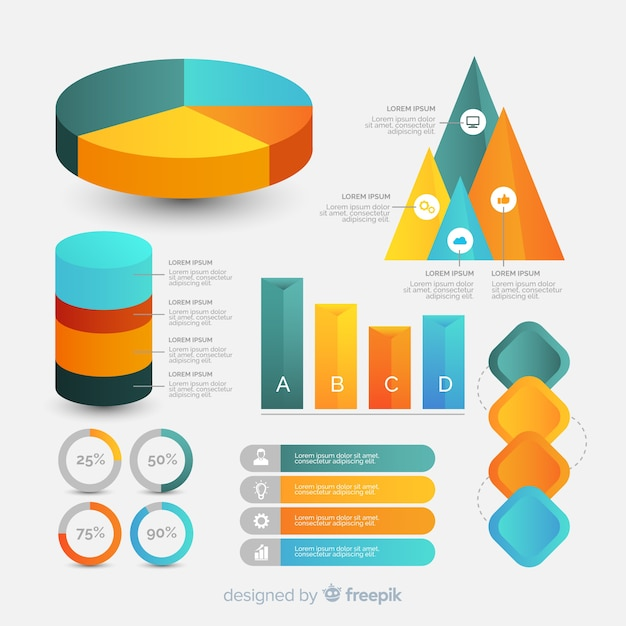 Gradient infographic element collection Free Vector