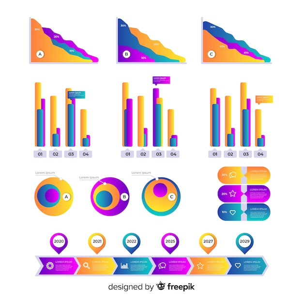 Gradient infographic element set Free Vector