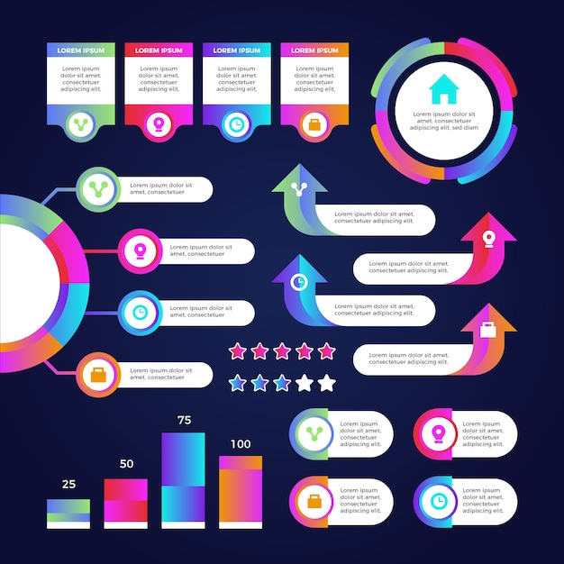 Gradient infographic element template collection Free Vector