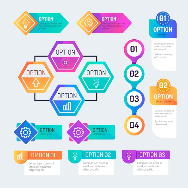 Gradient infographic elements collection Free Vector