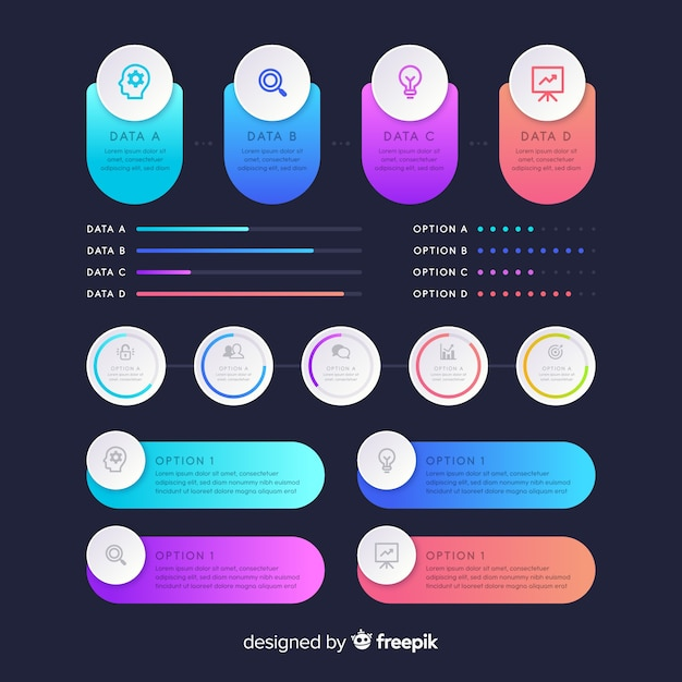 Gradient infographic elements pack Free Vector