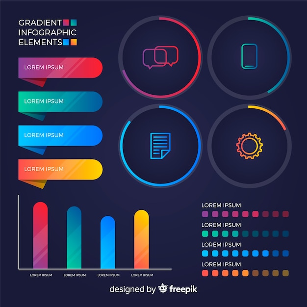 Gradient infographic elements set Free Vector