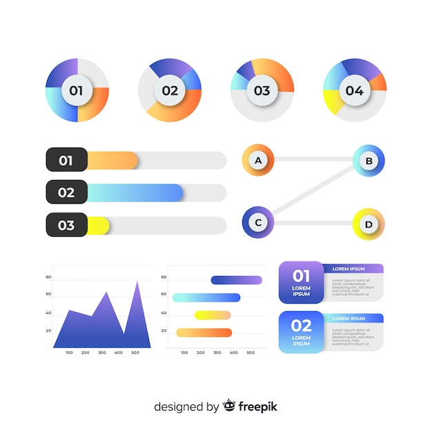 Gradient infographic elements set Free Vector