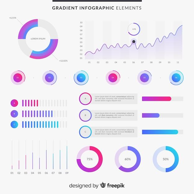 Gradient infographic elements Free Vector