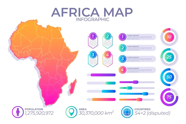 Gradient infographic map of africa Free Vector