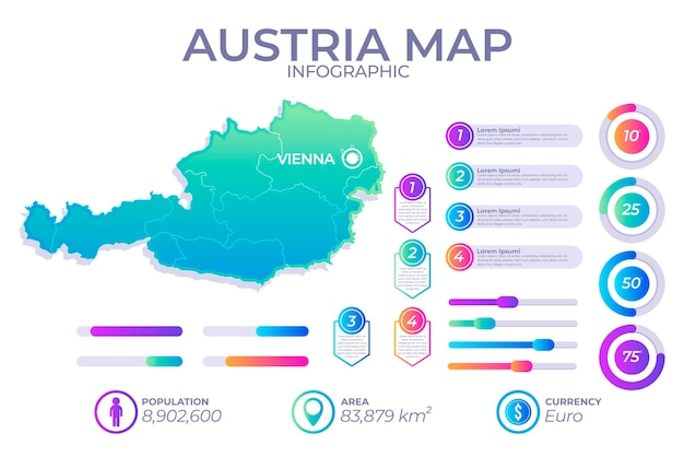 Gradient infographic map of austria Free Vector