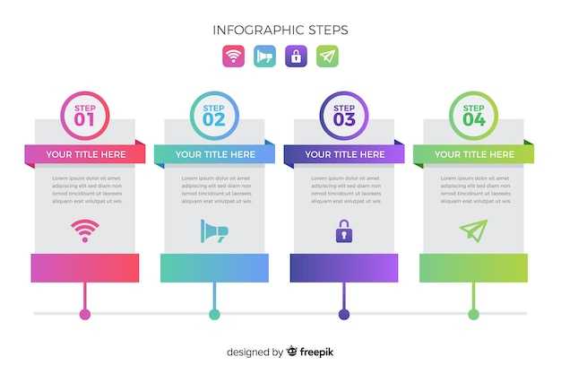 Gradient infographic step collection Free Vector
