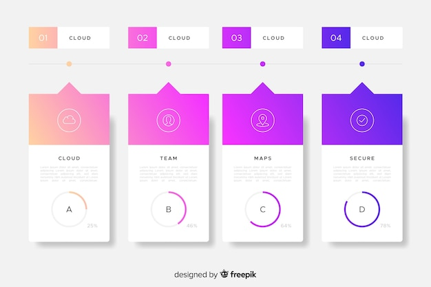 Gradient infographic steps collection template Free Vector