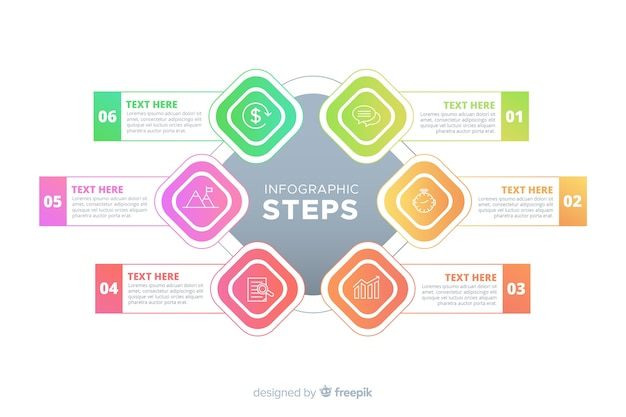 Gradient infographic steps template Free Vector