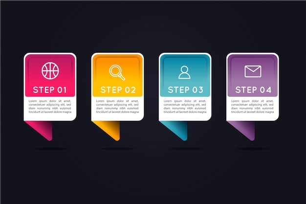 Gradient infographic steps with colourful text boxes Free Vector