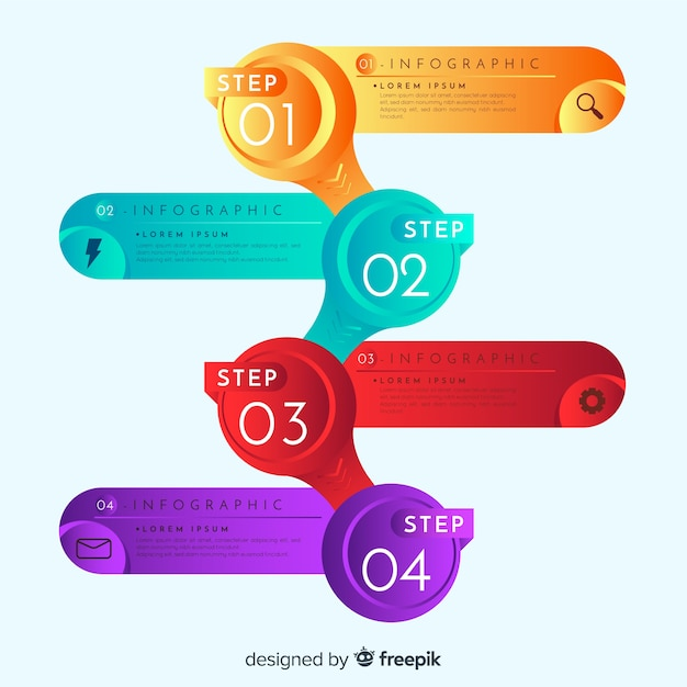 Gradient infographic steps Free Vector