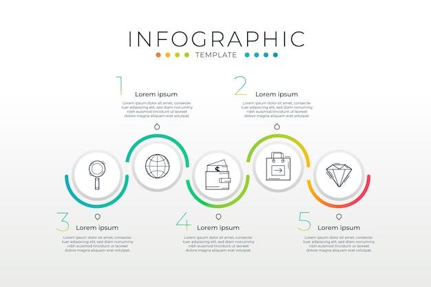 프로세스와 그라디언트 Infographic 템플릿 프리미엄 벡터