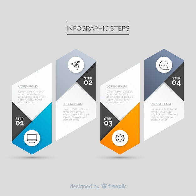 Gradient infographic template with steps Free Vector