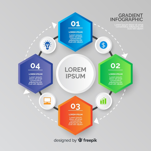 Gradient infographic with hexagon shapes Free Vector