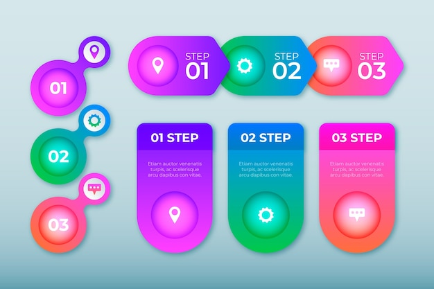 Gradient infographic with icons and text Free Vector