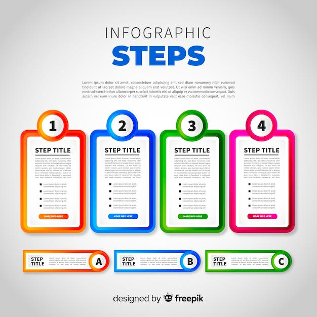 Gradient infographic with steps Free Vector