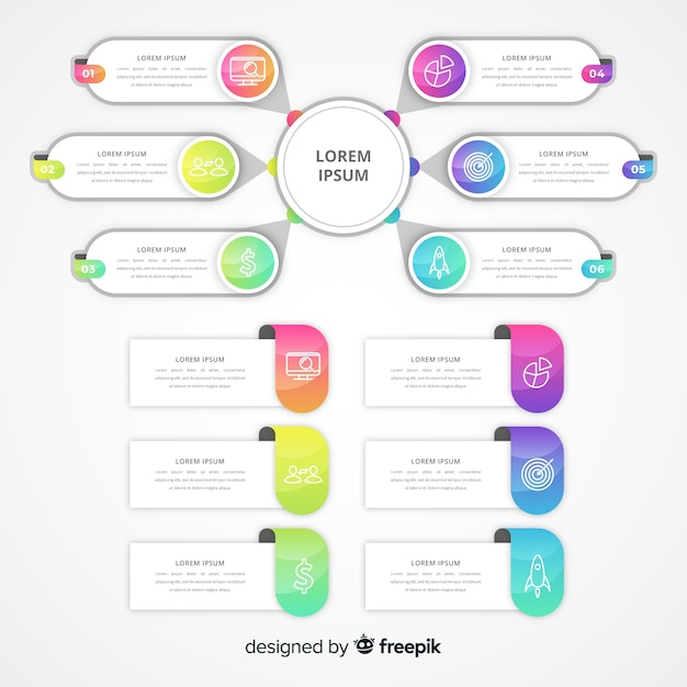 Gradient infographic with text boxes Free Vector