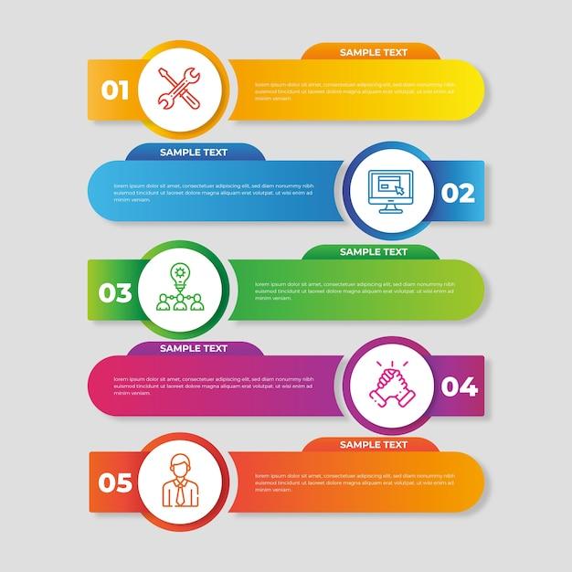 Градиентная инфографика шаблон дизайна Бесплатные векторы