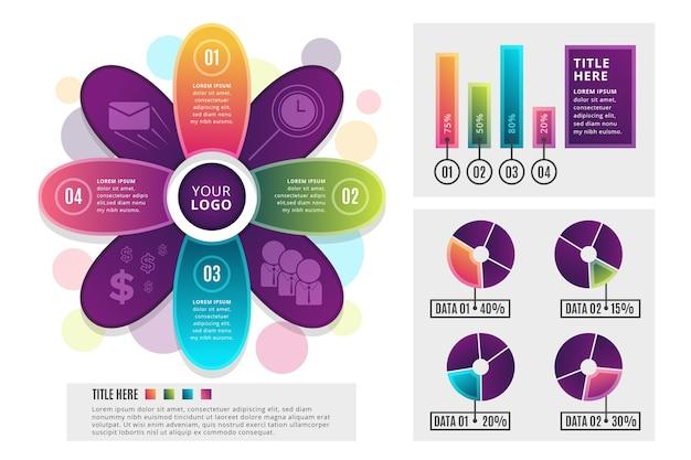 Gradient infographics template Free Vector