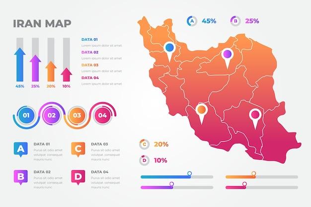 Modello di infografica mappa gradiente iran Vettore gratuito