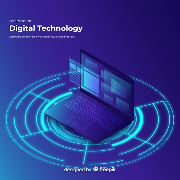 Gradient isometric laptop technology background Free Vector