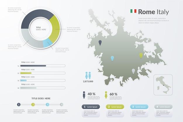 Градиент италии рим карта инфографика Бесплатные векторы
