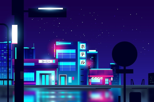 Gradient japanese street with neon lights Free Vector