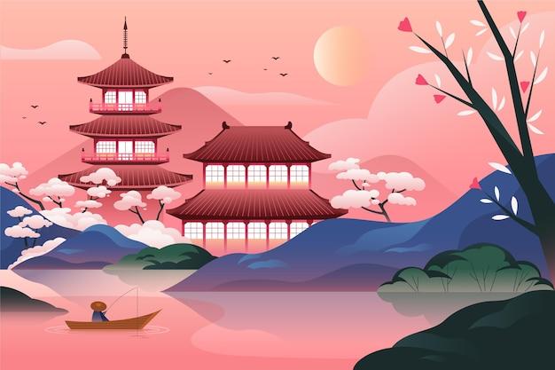 Градиентный японский храм с озером Бесплатные векторы