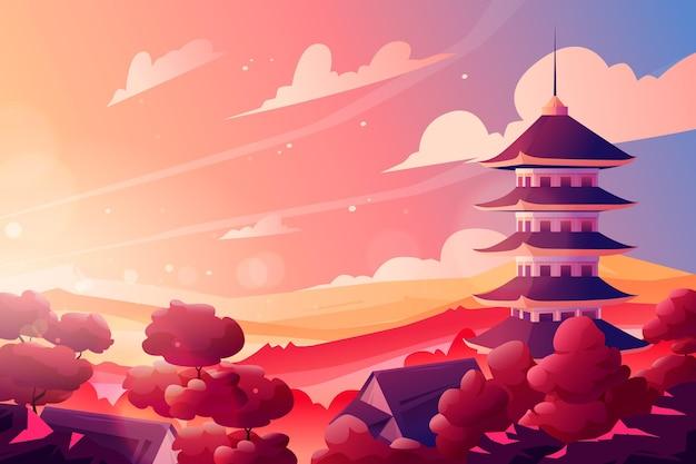 Градиентный японский храм с солнцем Бесплатные векторы