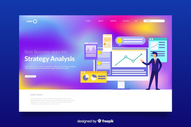 Gradient landing page template with illustrations Free Vector