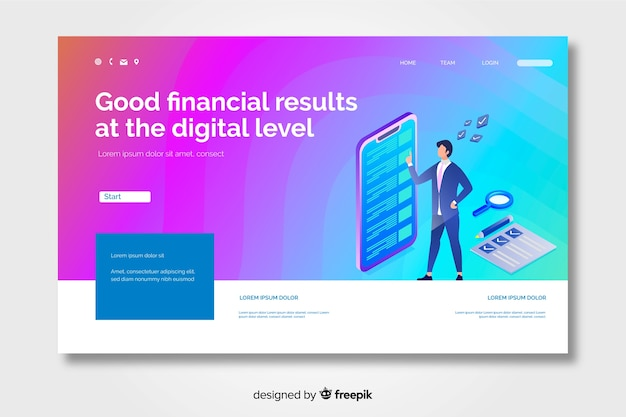 Gradient landing page with character cheking e-mails Free Vector