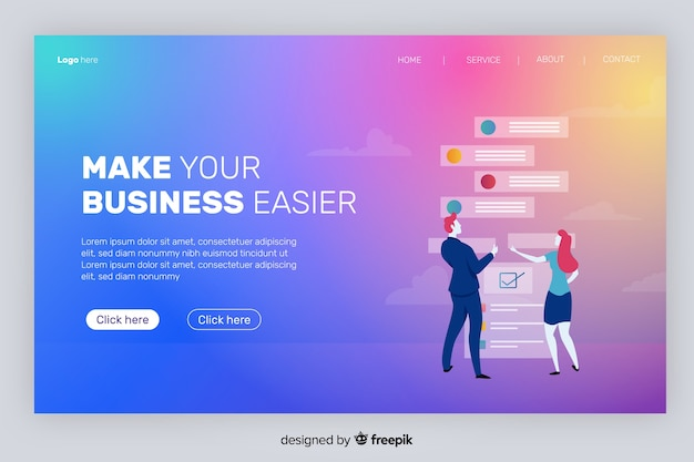 Gradient landing page with characters cheking e-mails Free Vector