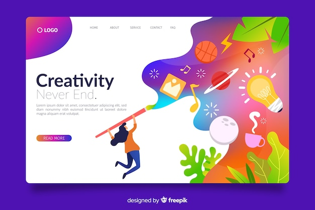 Gradient landing page with drawing person Free Vector