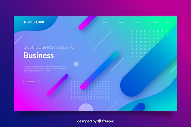 Gradient landing page with flat shapes Vector | Free Download