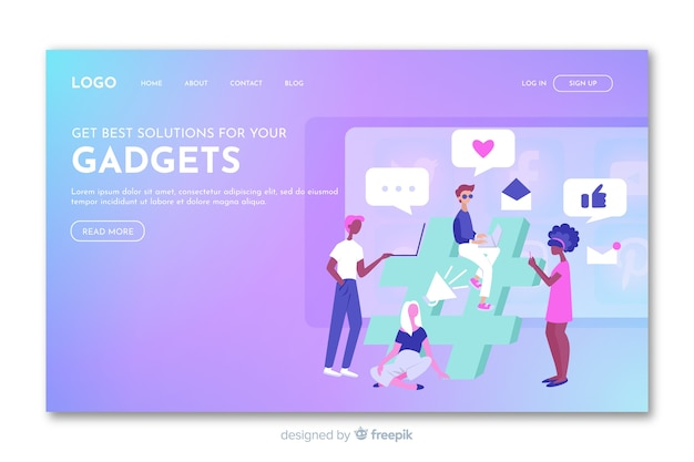 Gradient landing page with gadgets Free Vector