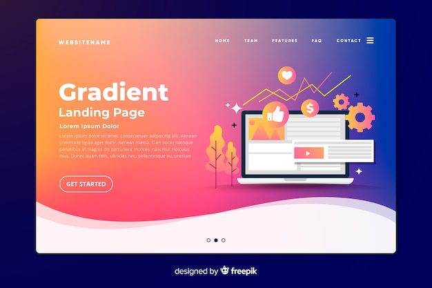 Gradient landing page with laptop and tools Free Vector