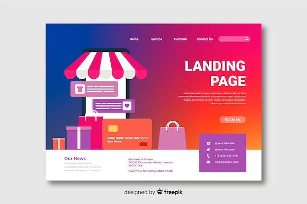 Gradient landing page with shopping bags Free Vector