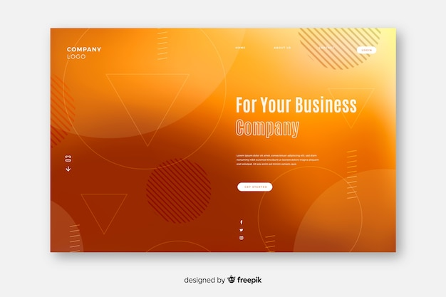 Gradient landing page with yellow memphis shapes Free Vector