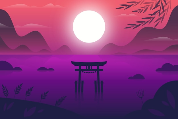 Gradient landscape with torii gate in the water Free Vector